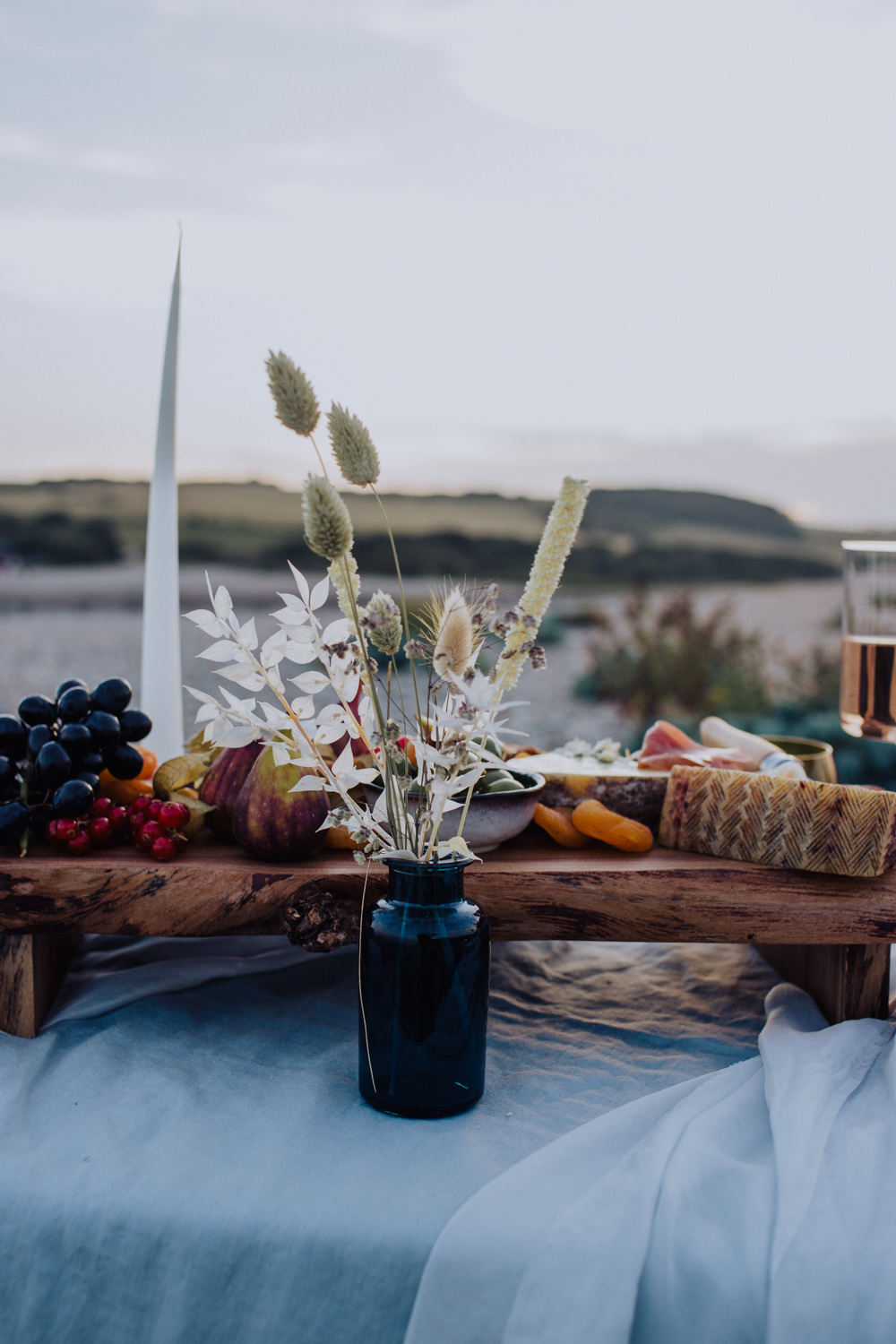 Table Tablescape Silk Flowers Dried Candles Decor Glasses Coastal Elopement Manon Pauffin Photography