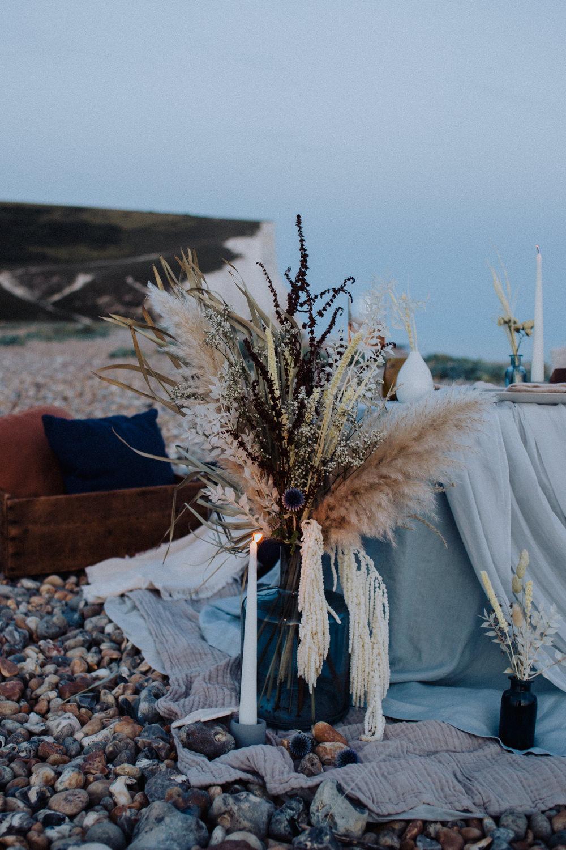 Flower Arrangement Flowers Pampas Grass Dried Coastal Elopement Manon Pauffin Photography