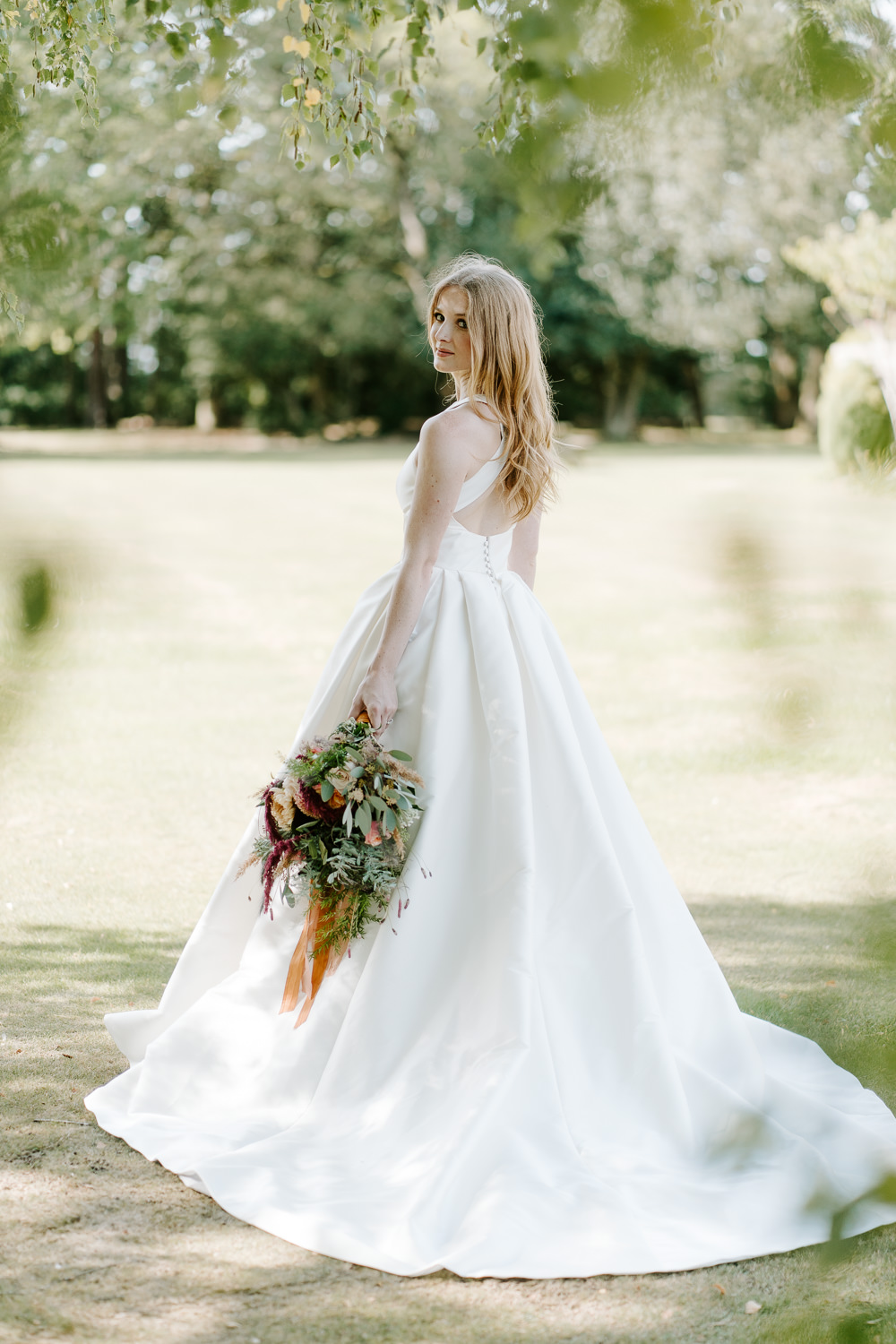 Dress Gown Bride Bridal Train Cross Back Contemporary Wedding Ideas Chloe Ely Photography