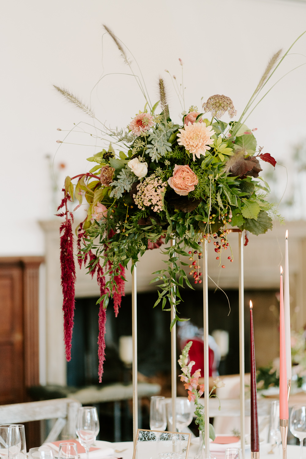Tall Flowers Centrepiece Table Coral Rose Amaranthus Contemporary Wedding Ideas Chloe Ely Photography