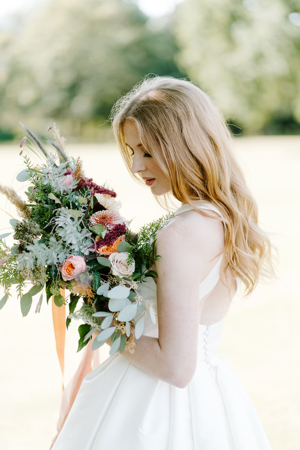 Bride Bridal Bouquet Flowers Eucalyptus Grass Daliah Rose Ribbons Contemporary Wedding Ideas Chloe Ely Photography