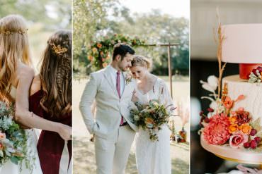 Contemporary Wedding Ideas at a Traditional Venue in Burgundy & Coral