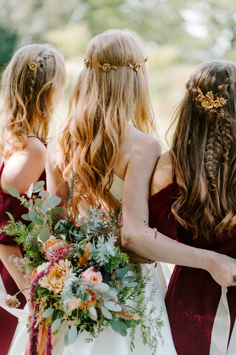 Bride Bridal Hair Bridesmaid Style Half Up Half Down Contemporary Wedding Ideas Chloe Ely Photography