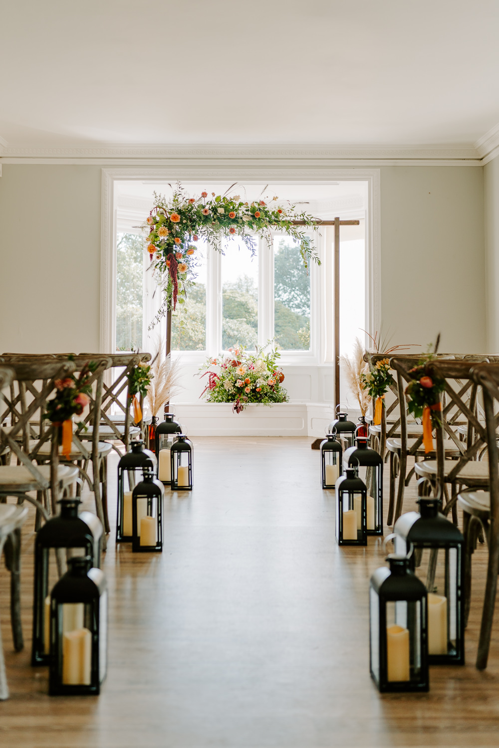 Flower Arch Ceremony Aisle Backdrop Lantern Candles Contemporary Wedding Ideas Chloe Ely Photography