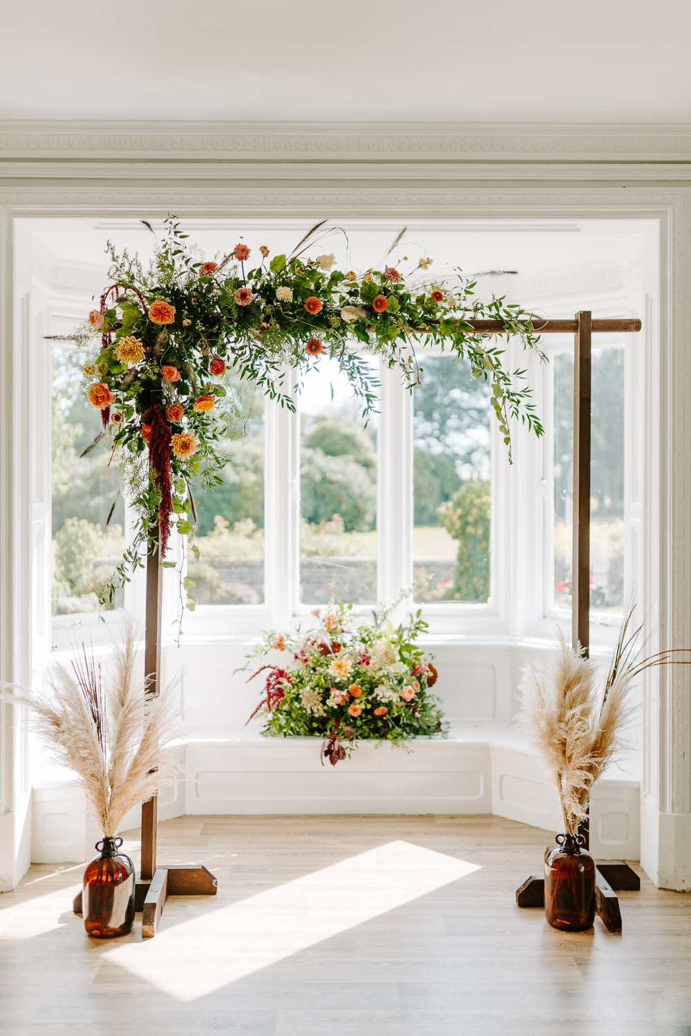 Flower Arch Ceremony Aisle Backdrop Pampas Grass Contemporary Wedding Ideas Chloe Ely Photography