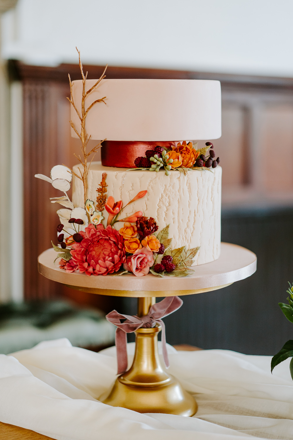 Cake Floral Flowers Gold Stand Contemporary Wedding Ideas Chloe Ely Photography