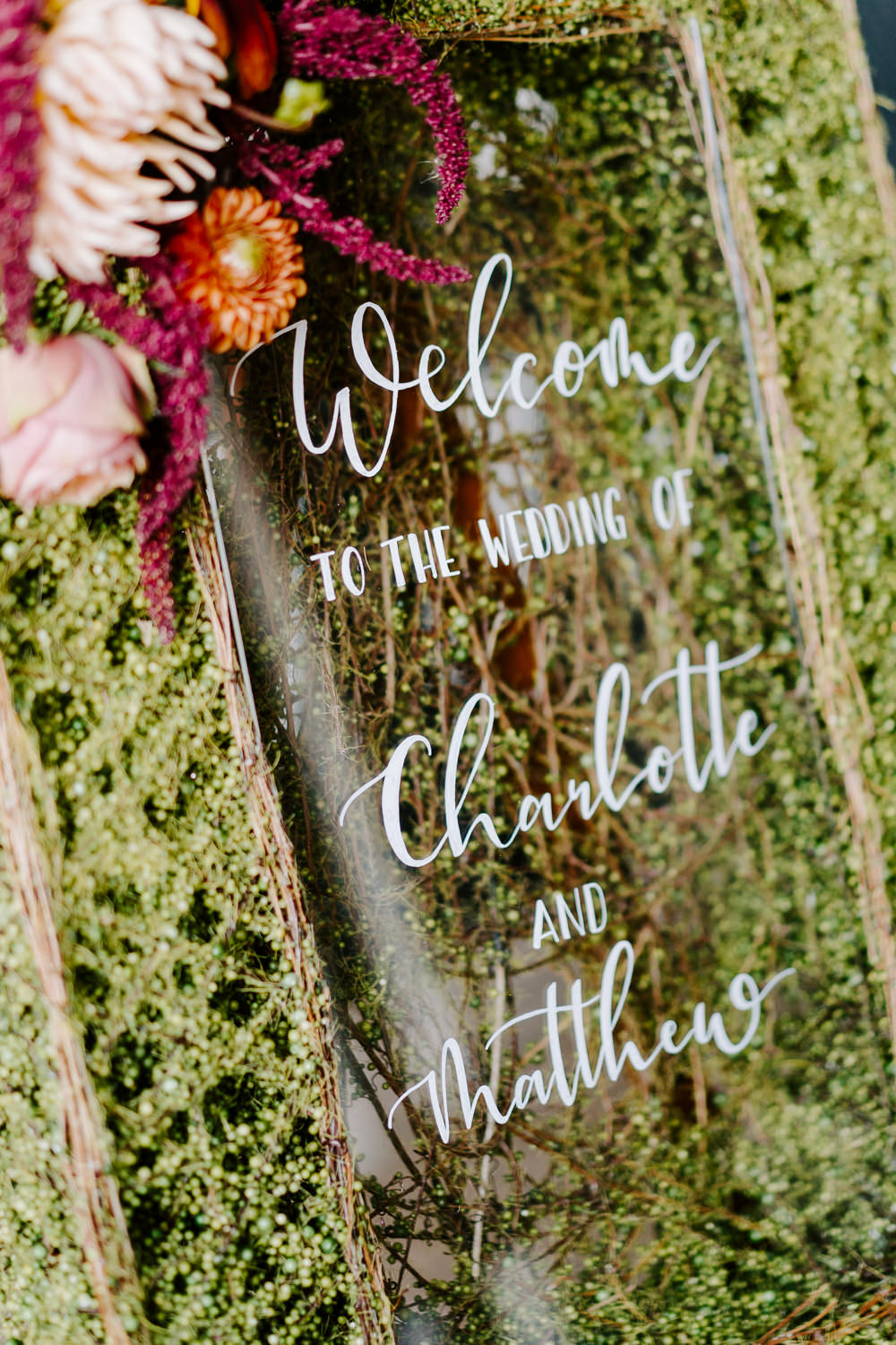 Glass Clear Perspex Acrylic Sign Signs Signage Contemporary Wedding Ideas Chloe Ely Photography