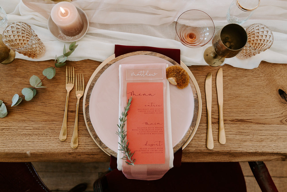 Place Setting Coral Menu Gold Cutlery Contemporary Wedding Ideas Chloe Ely Photography
