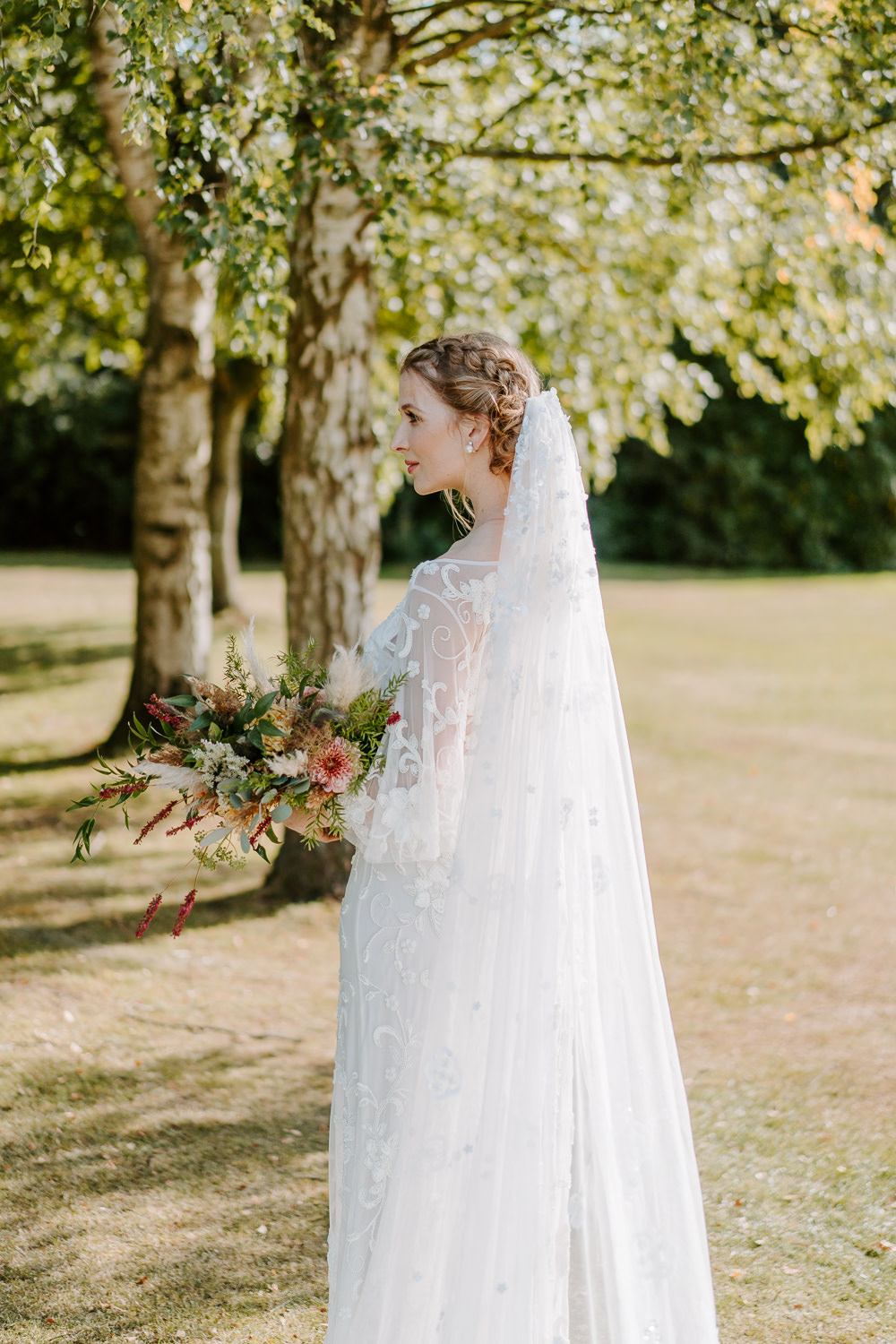 Dress Gown Bride Bridal Floral Train Lace Veil Contemporary Wedding Ideas Chloe Ely Photography