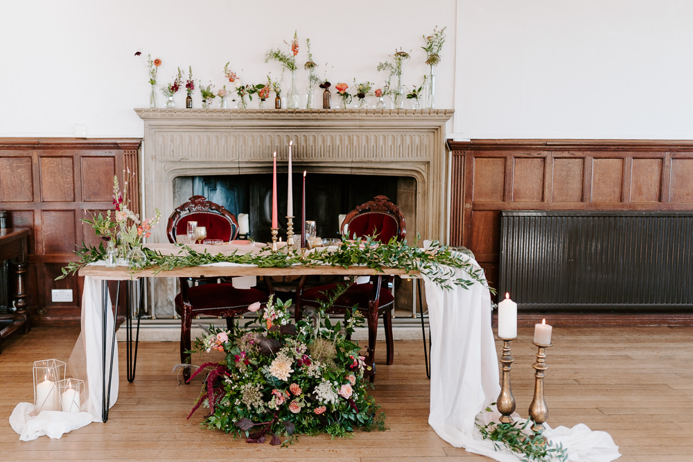 Top Table Flowers Floral Candles Runner Contemporary Wedding Ideas Chloe Ely Photography