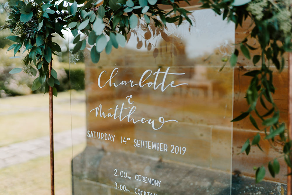 Glass Clear Perspex Acrylic Sign Signs Signage Order of the Day Contemporary Wedding Ideas Chloe Ely Photography