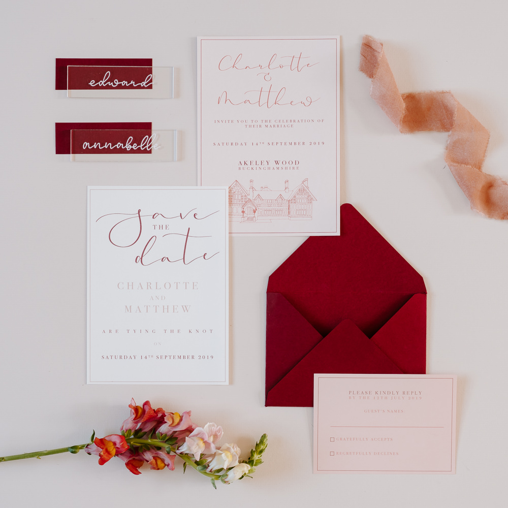 Stationery Invite Invitations Burgundy Calligraphy Pink Contemporary Wedding Ideas Chloe Ely Photography