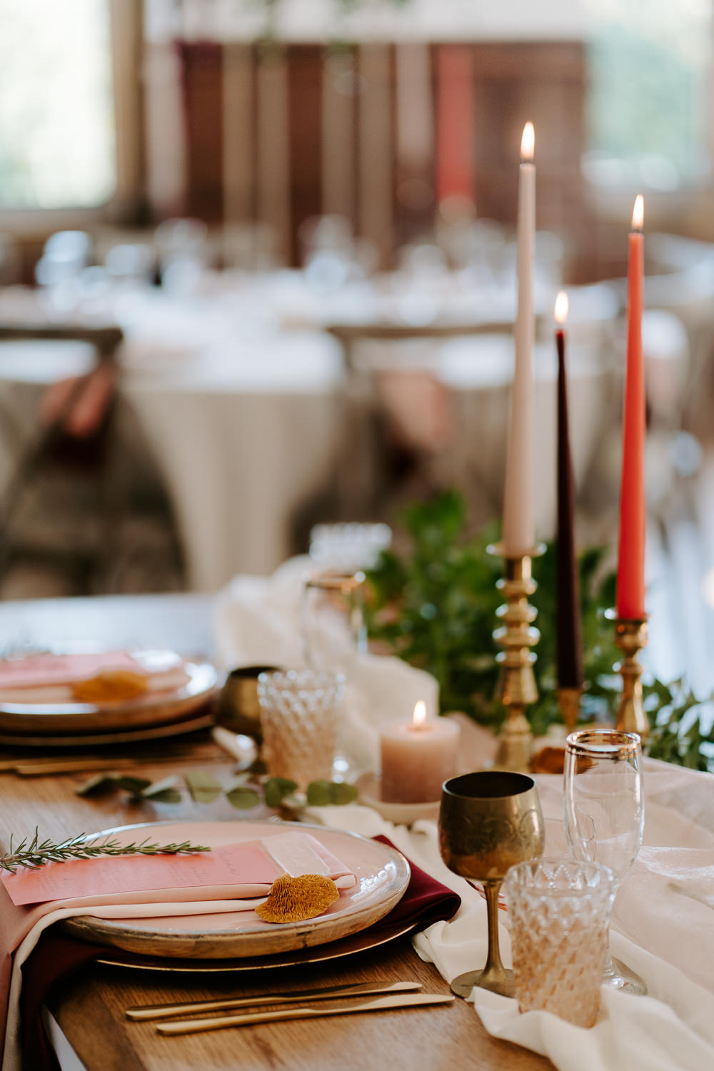 Candlesticks Decor Table Coral Contemporary Wedding Ideas Chloe Ely Photography