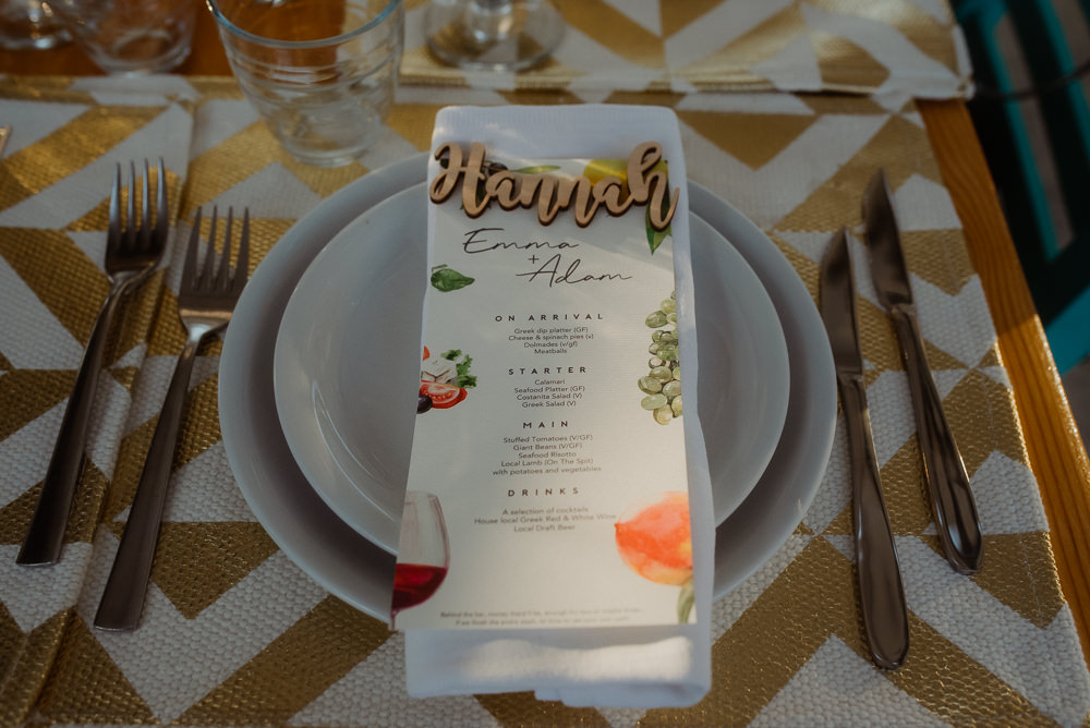 Place Setting Name Laser Cut Menu Crete Destination Wedding Me and Georgia Photography