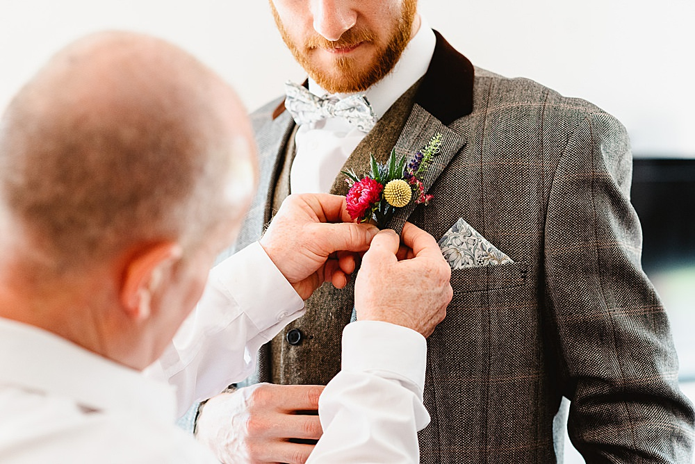 Groom Suit Grey Tweed Bow Tie Buttonhole Flowers DIY Tipi Wedding Fiona Kelly Photography