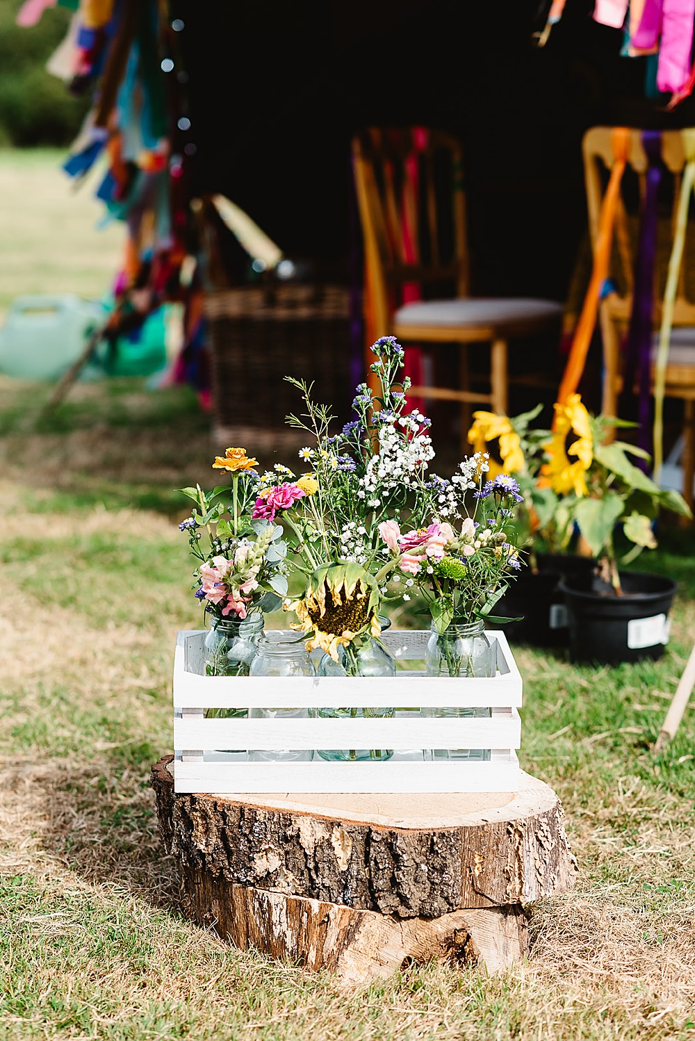 Wooden Crate Flowers Tree Log DIY Tipi Wedding Fiona Kelly Photography