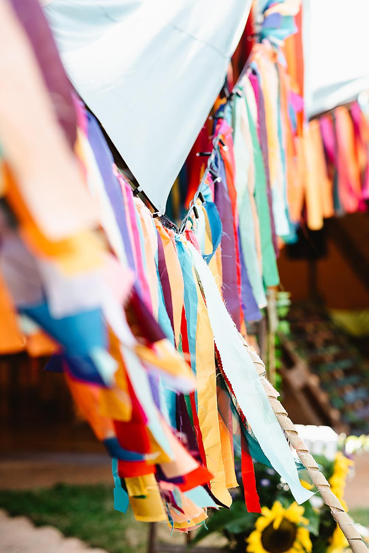 Colourful Multicolour Rainbow Decor Rag Bunting DIY Tipi Wedding Fiona Kelly Photography