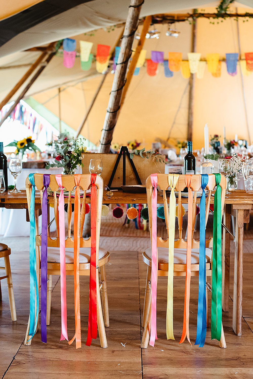 Multicolour Rainbow Colourful Ribbon Chairs Decor DIY Tipi Wedding Fiona Kelly Photography
