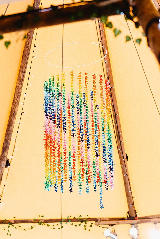 Multicolour Rainbow Colourful Origami Decor DIY Tipi Wedding Fiona Kelly Photography