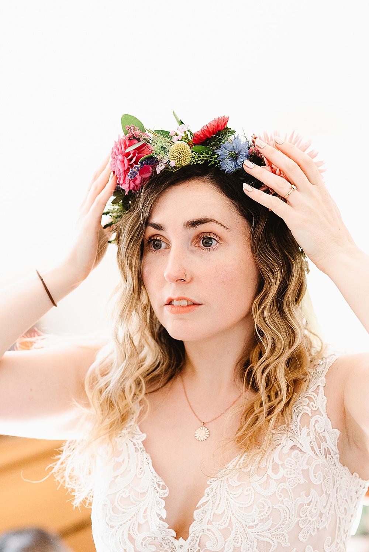 Bride Bridal Make Up Hair Flower Crown DIY Tipi Wedding Fiona Kelly Photography