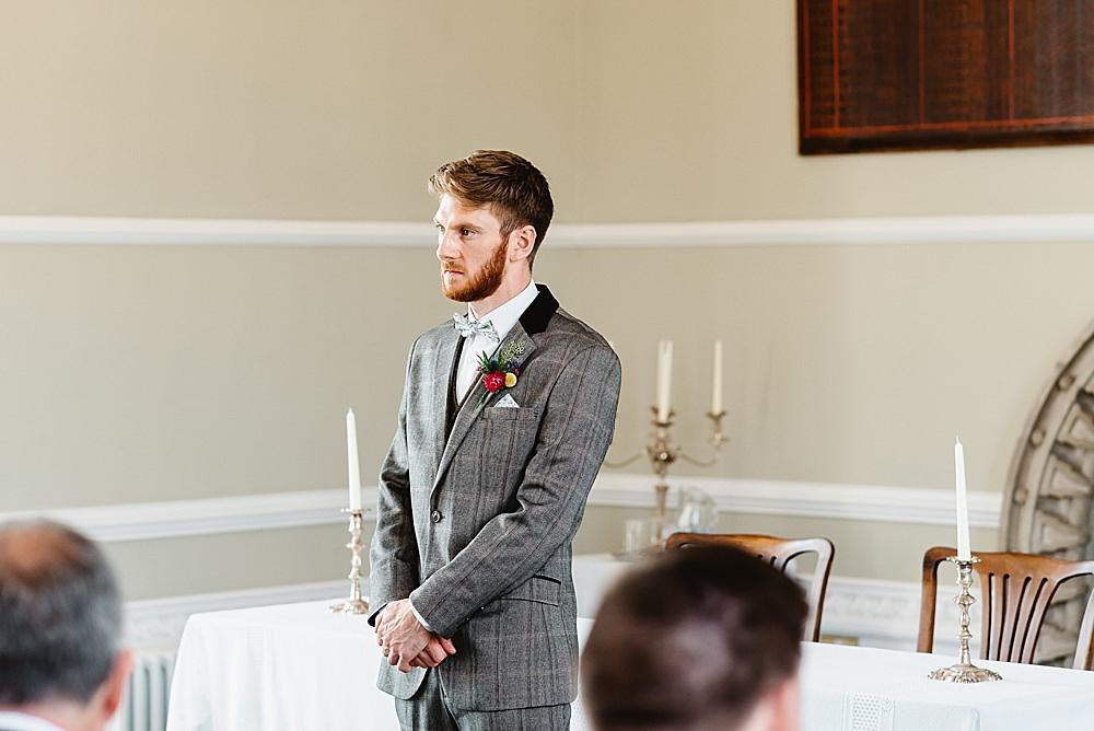 Groom Suit Grey Tweed Bow Tie DIY Tipi Wedding Fiona Kelly Photography