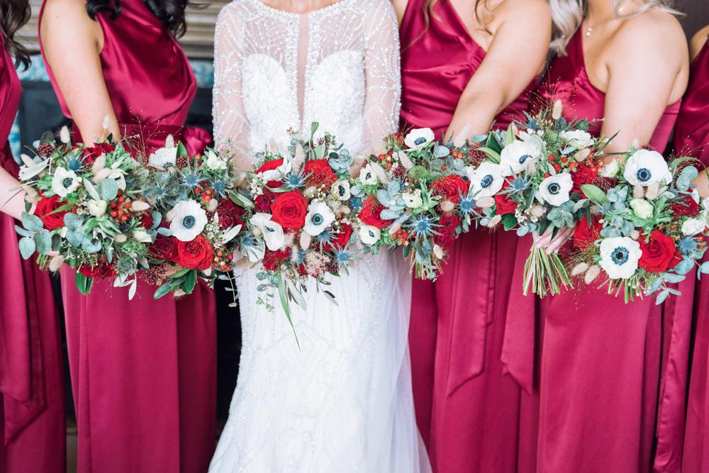 Bouquet Flowers Bride Bridal Bridesmaid Red Rose Anemone Decadent Christmas Wedding Jessica Raphael Photography