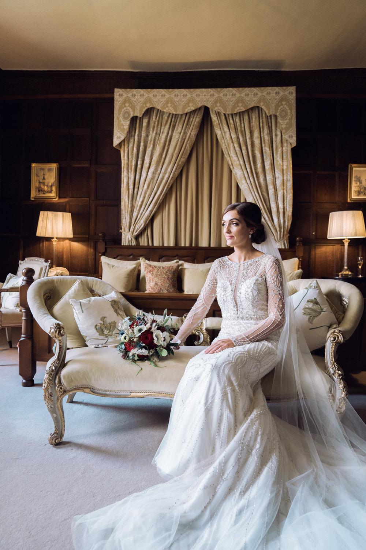 Bride Bridal Dress Gown Justin Alexander Embellished Long Sleeves Decadent Christmas Wedding Jessica Raphael Photography
