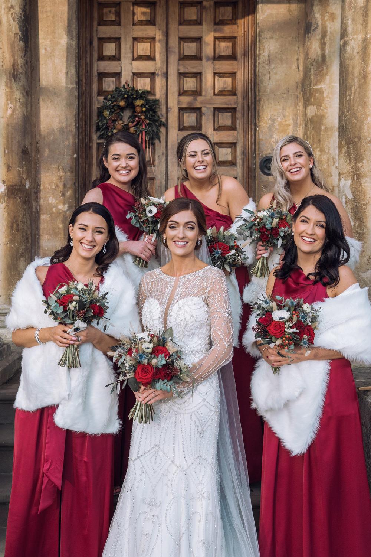Bridesmaids Bridesmaid Jumpsuit Dress Dresses Red Decadent Christmas Wedding Jessica Raphael Photography
