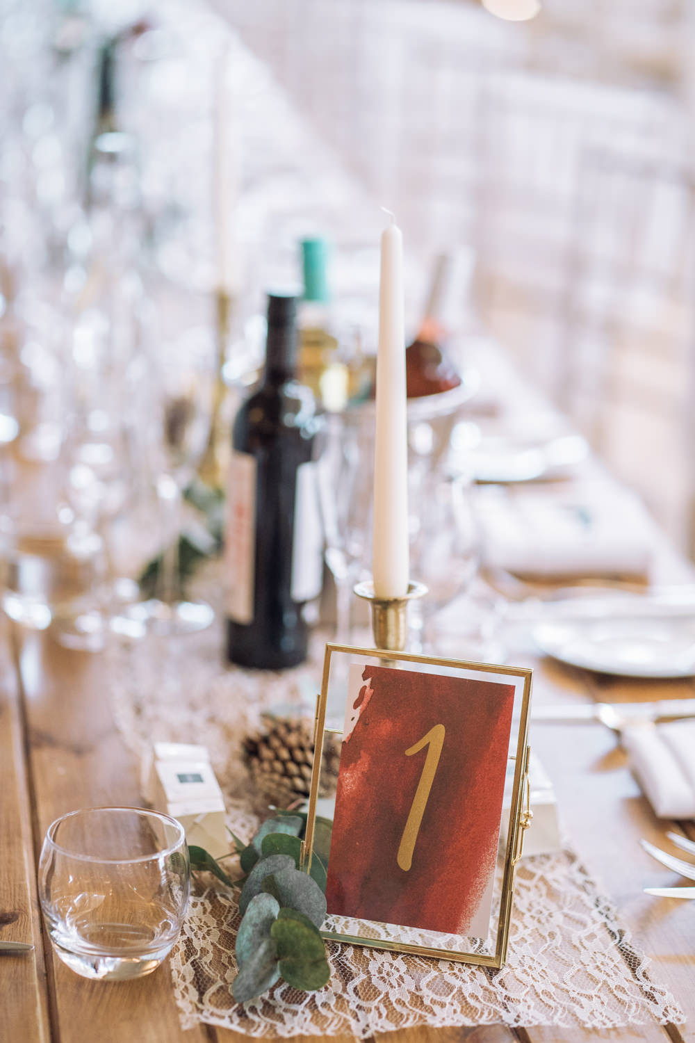 Acrylic Red Gold Table Number Decadent Christmas Wedding Jessica Raphael Photography