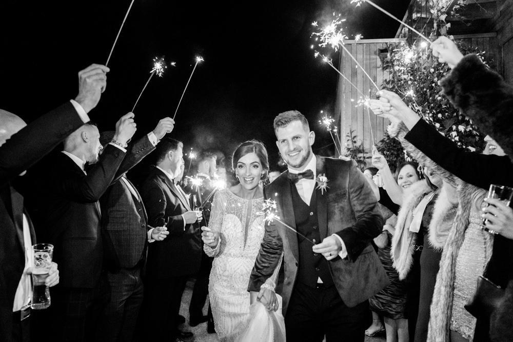 Sparklers Sparkler Decadent Christmas Wedding Jessica Raphael Photography