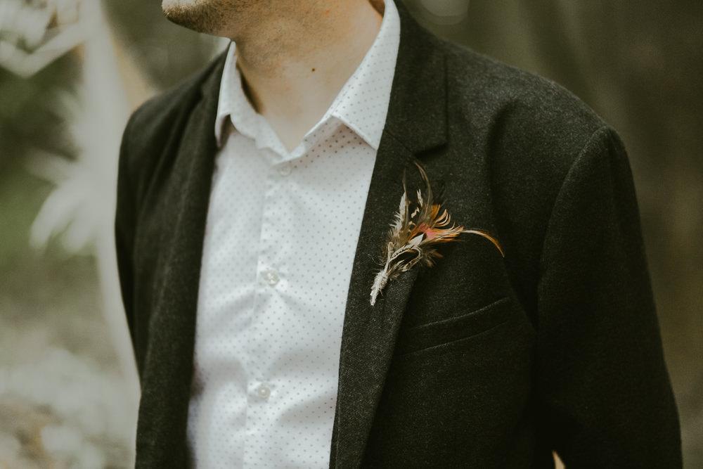 Groom Feather Buttonhole Dreamy Woodland Wedding Ideas Jasmine Andrews Photography