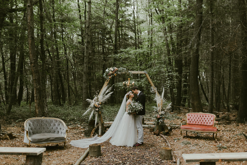 Outdoor Ceremony Aisle Hexagon Backdrop Pampas Grass Greenery Foliage Dreamy Woodland Wedding Ideas Jasmine Andrews Photography