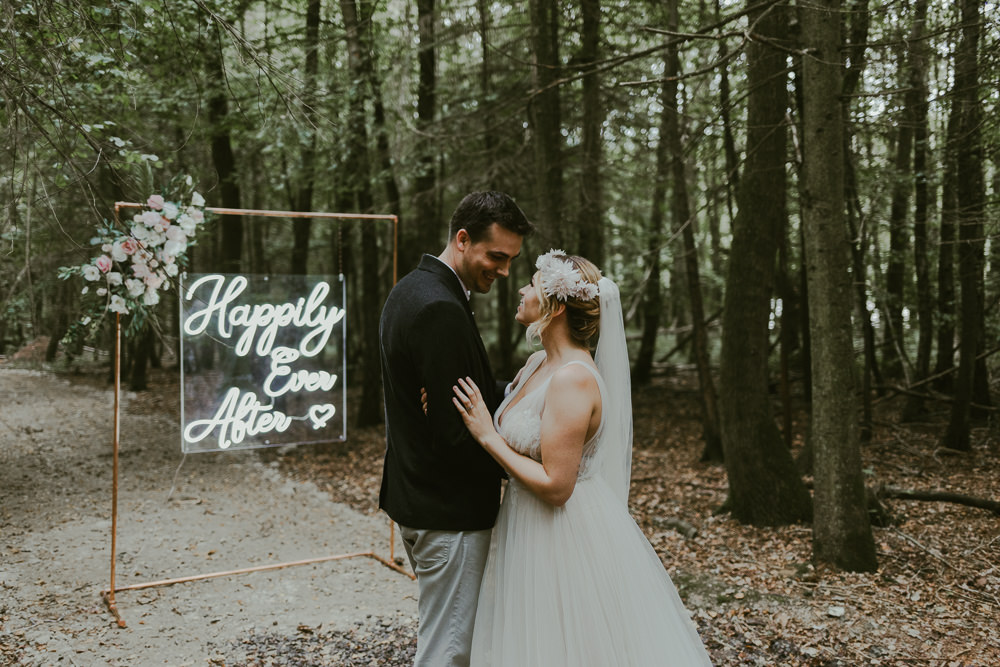 Neon Sign Signs Signage Backdrop Dreamy Woodland Wedding Ideas Jasmine Andrews Photography