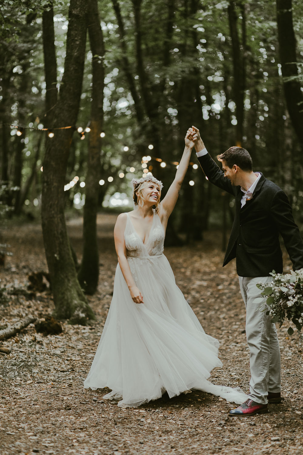 Bride Bridal Flower Crown Dress Gown Train Tulle Dreamy Woodland Wedding Ideas Jasmine Andrews Photography