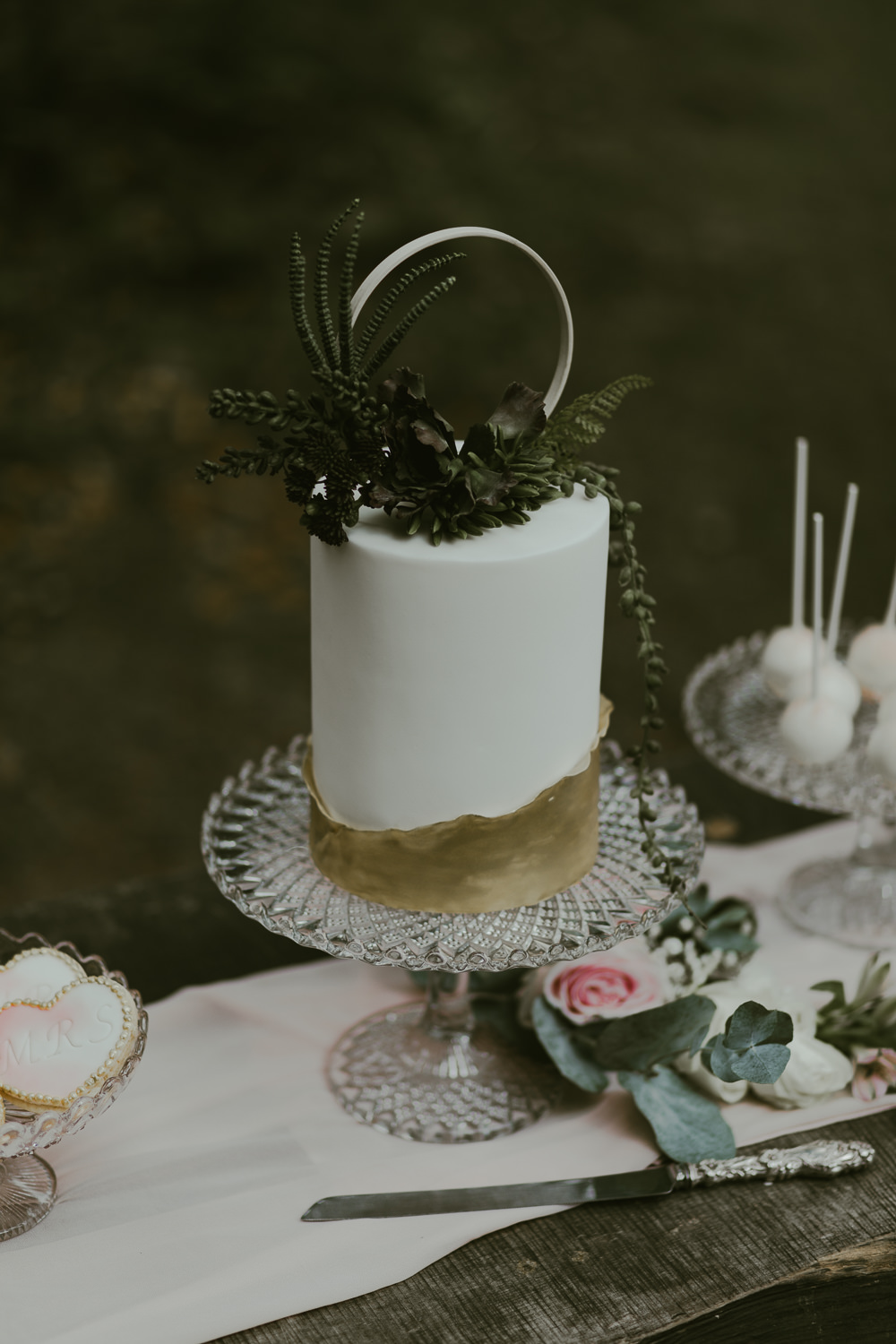 Cake Gold Leaf Hoop Topper Greenery Foliage Dreamy Woodland Wedding Ideas Jasmine Andrews Photography
