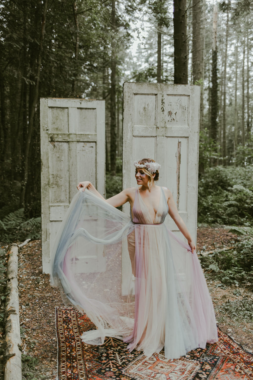 Bride Bridal Flower Crown Dress Gown Train Tulle Rainbow Dreamy Woodland Wedding Ideas Jasmine Andrews Photography