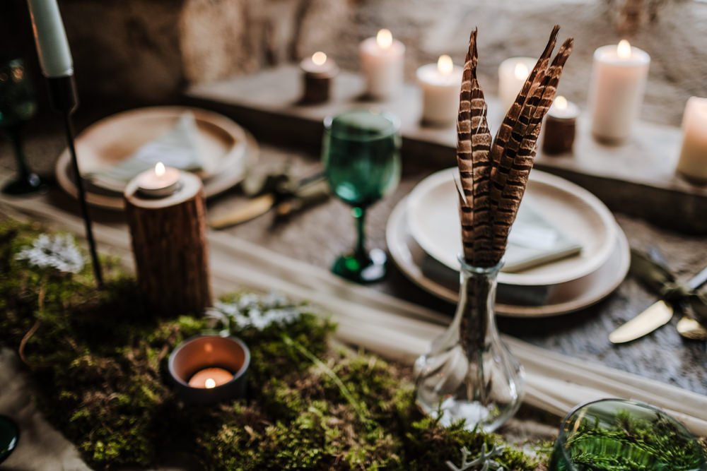 Table Tablescape Decor Wooden Candles Greenery Foliage Feathers Moss Ethical Wedding Ideas Jenna Kathleen Photographer