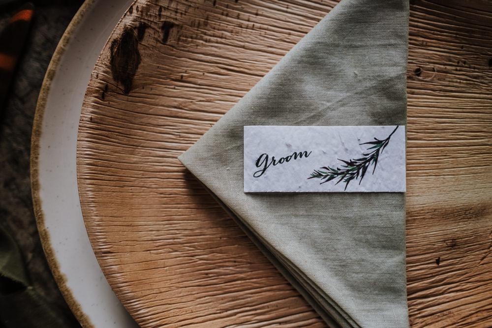 Place Setting Decor Plate Napkin Place Name Card Ethical Wedding Ideas Jenna Kathleen Photographer