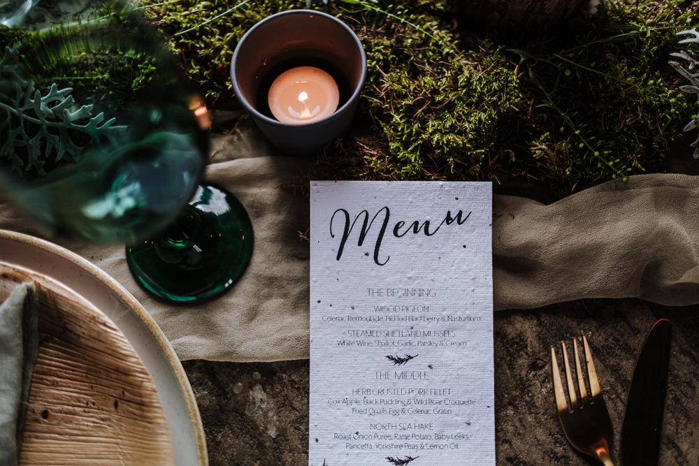 Menu Card Stationery Ethical Wedding Ideas Jenna Kathleen Photographer