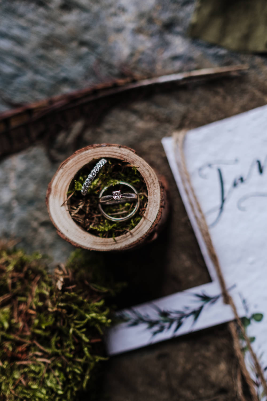 Rings Bands Box Moss Ethical Wedding Ideas Jenna Kathleen Photographer