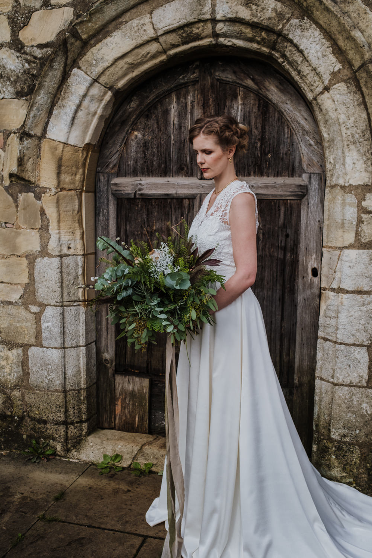 Dress Gown Bride Bridal Lace High Neck A-Line Skirt Ethical Wedding Ideas Jenna Kathleen Photographer