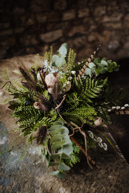 Bouquet Flowers Bride Bridal Fern Eucalyptus Feather Seed Head Ribbons Ethical Wedding Ideas Jenna Kathleen Photographer
