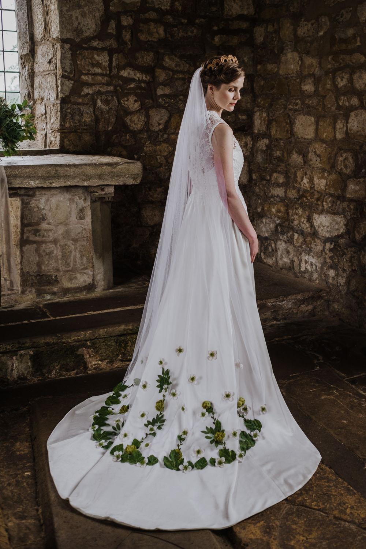 Dress Gown Bride Bridal Lace High Neck A-Line Skirt Veil Ethical Wedding Ideas Jenna Kathleen Photographer