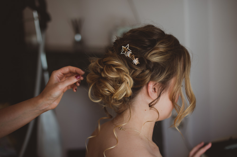 Bride Bridal Hair Style Up Do Star Clips Garthmyl Hall Wedding Sasha Weddings