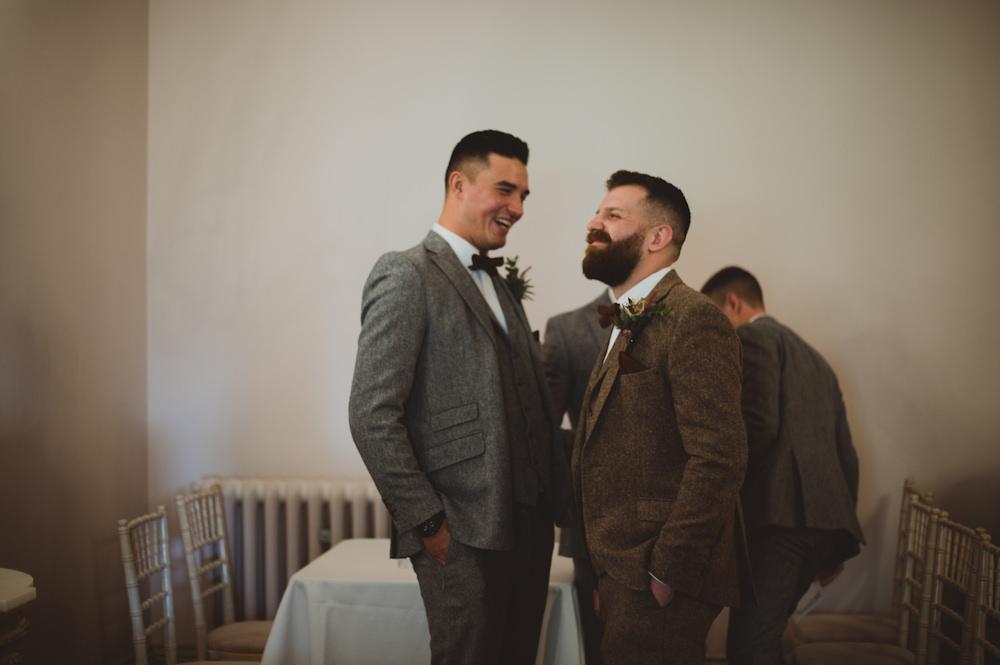 Groom Groomsmen Suits Brown Tweed Bow Tie Garthmyl Hall Wedding Sasha Weddings
