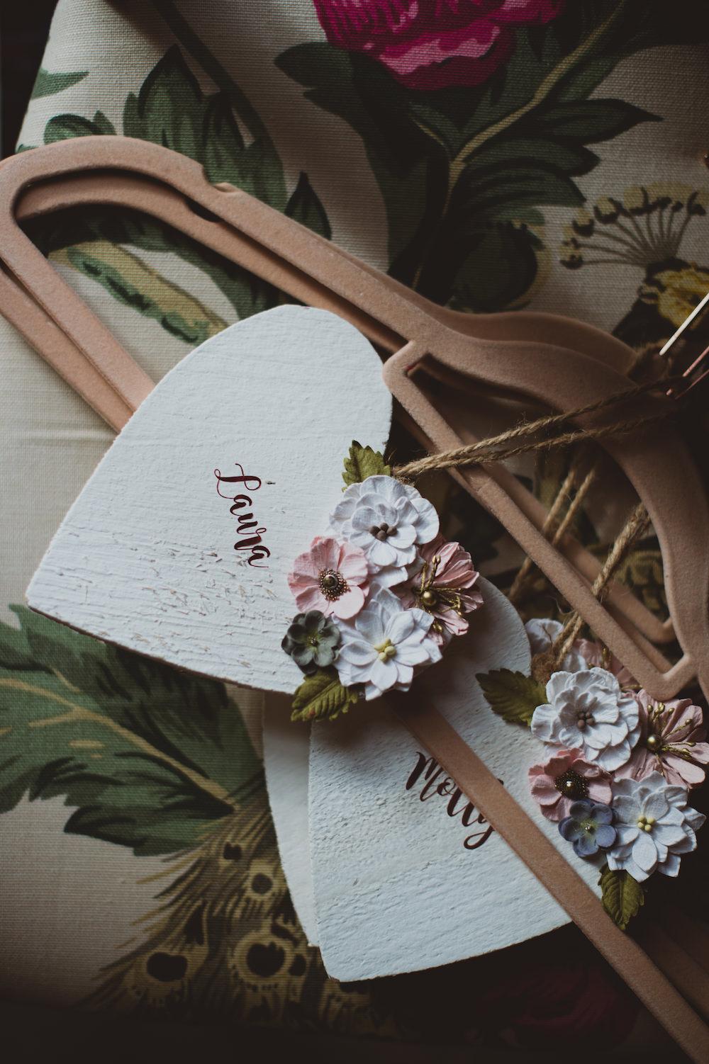 Custom Hangers Bride Bridal Bridesmaid Garthmyl Hall Wedding Sasha Weddings