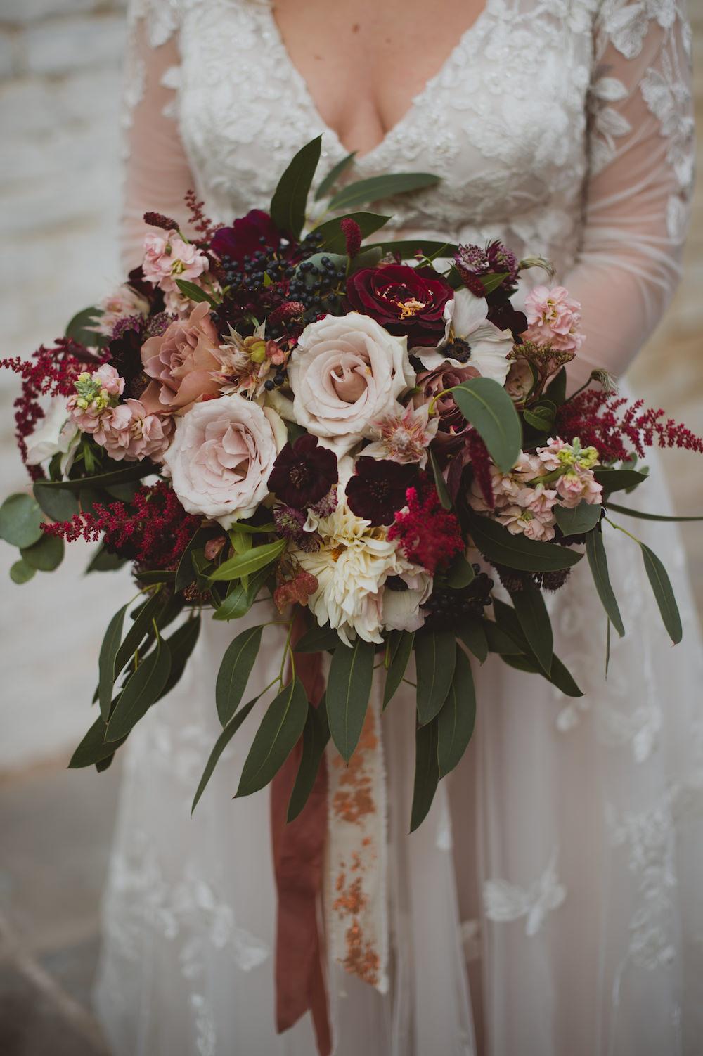 Bouquet Flowers Bride Bridal Blush Burgundy Rose Astilbe Cosmos Ribbon Garthmyl Hall Wedding Sasha Weddings