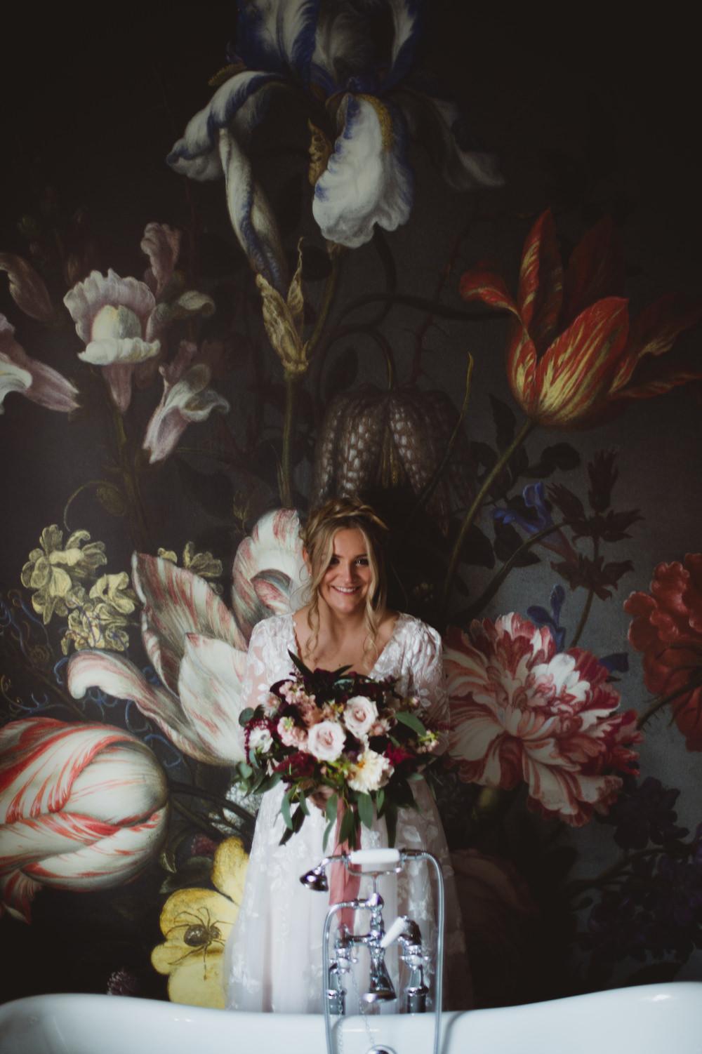 Dress Gown Bride Bridal David's Bridal Lace Long Sleeves Veil Garthmyl Hall Wedding Sasha Weddings