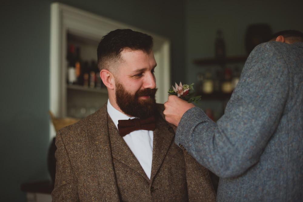 Groom Groomsmen Suits Brown Tweed Bow Tie Buttonhole Garthmyl Hall Wedding Sasha Weddings