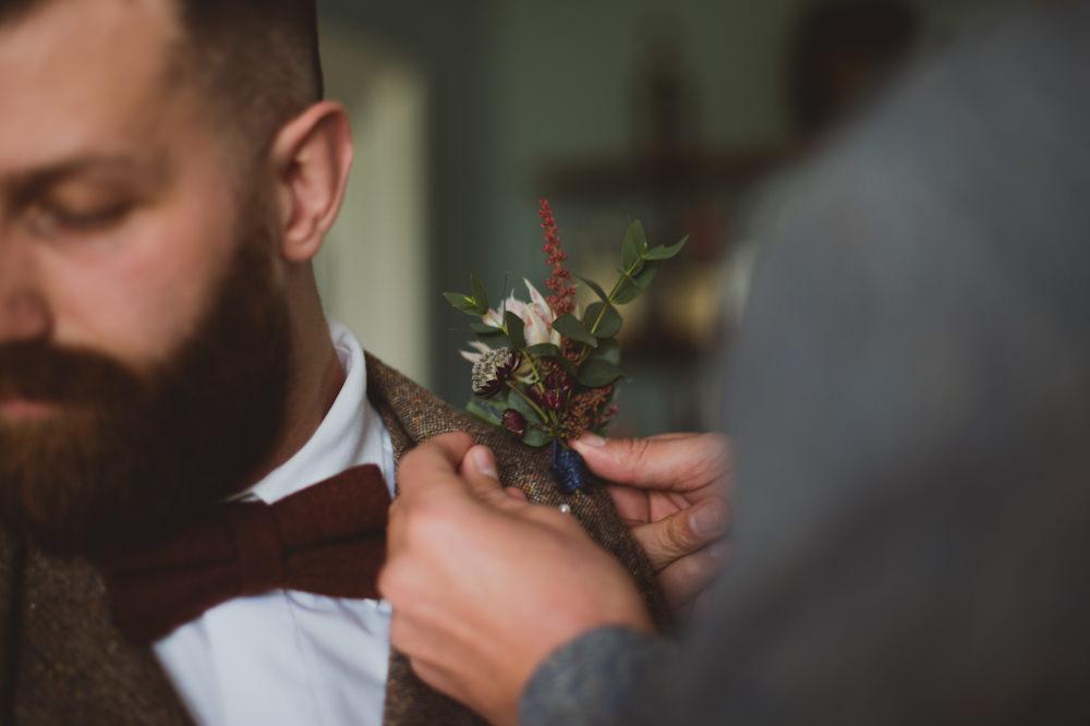 Buttonhole Groom Garthmyl Hall Wedding Sasha Weddings